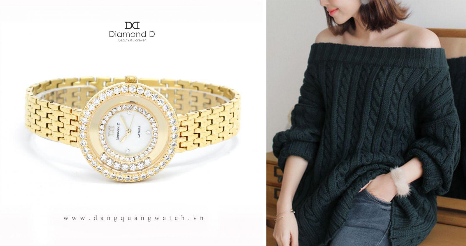 đồng hồ nữ diamond d DM36285IG