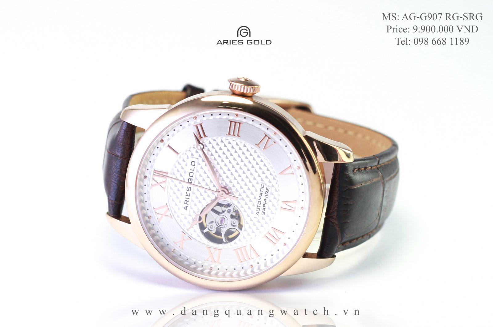 đồng hồ cơ aries gold G907 RG-SRG